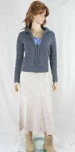 Grunge Urban Gray Zip Cardigan Sweater Size S XS Twiggy