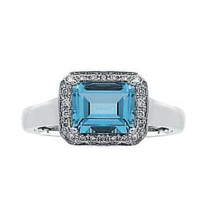 14K White Gold Ring Emerald Cut Aquamarine & Diamonds