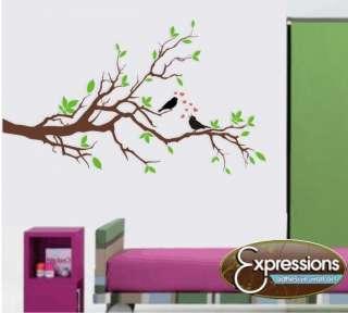 BIRDS ON LIMB wall decals stickers vinyl tree flowers