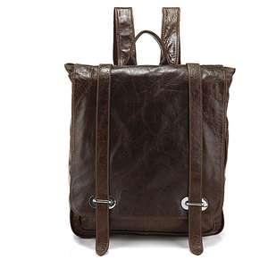 Classic Vintage Leather Mens Backpack Travel Bag Messenger Bag Dark