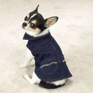 Dog Pet Puppy Denim Dress Xsmall Heart Studded Pet