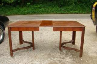 Antique Wood Dining Room Table & Chair Set Hidden Leaf