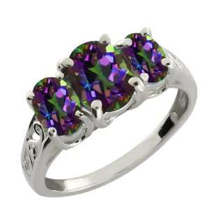70 Ct Genuine Oval Green Mystic Topaz Gemstone Argentium Silver Ring