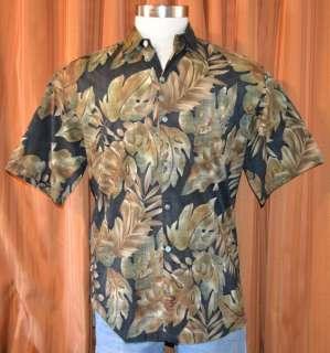 TORI RICHARD SHORT SLEEVE BLACK GREEN COTTON LAWN HAWAIIAN SHIRT MENS