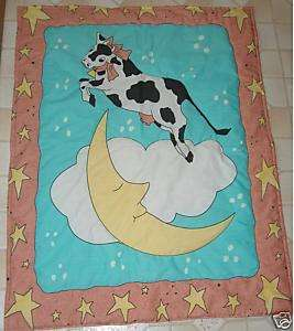 Cute new baby crib quilt Cow Jumped over moon star