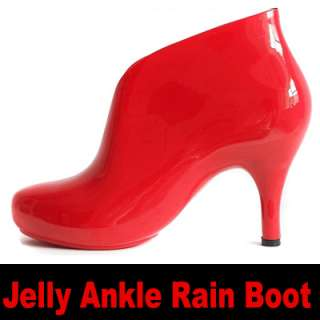 Women Jelly Ankle Rain Boot Boots shoes Red High Heel