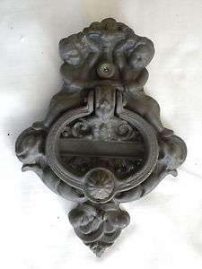 Victorian cast iron door knocker w/peep hole,Cherubs,mans face