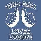THIS GIRL LOVES BACON T Shirt funny t shirt bacon strips Navy