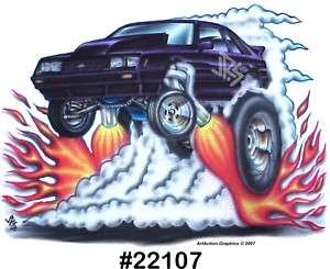 79 86 MUSTANG 5.0 Fox Body Drag Hot Rod CarTOON T Shirt