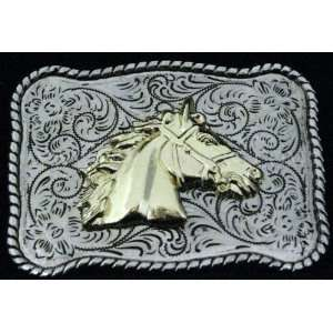 Horse Head Cow Boy Western 3d Gold and Silver Finishing Belt