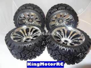 Kingmotor T2000 All Terrian tires, chrome wheels fits HPI Baja, 5B, 5T
