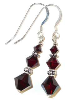 CRYSTAL ELEMENTS Bali Sterling Silver Earrings GARNET deep RED Dangle