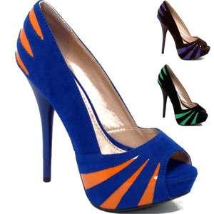 High Heels Stiletto Suede Peep Toe Pumps Black Brown Blue Size
