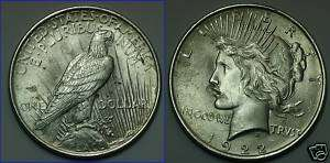 For Sale is One Bright 1922 Peace Dollar Nice Coin   Nice MS