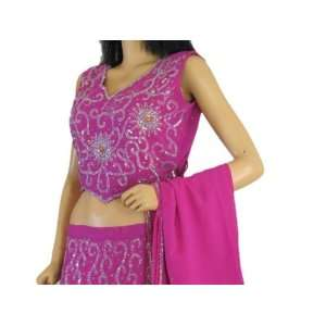 DESIGNER PINK LEHENGA CHOLI EVENING PARTY WEAR DRESS L