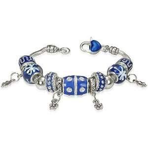 Beaded Flower Charm Heart Padlock Crystals Womens Bracelet Jewelry