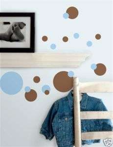 BLUE BROWN POLKA DOTS Vinyl Wall Stickers Decals Decor