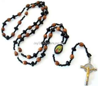 Wood Bead Rosary Silver Gold Tone Cross Necklace Black