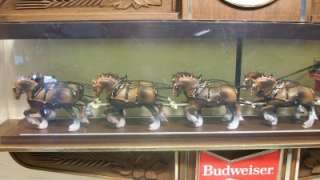 Vintage Budweiser Beer Clydesdale Horses Big Bar Sign Clock Bar Light