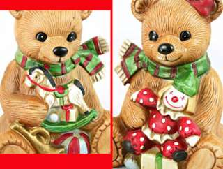 CHRISTMAS Boy & Girl BEARS Clown+Rocking Horse 5251 EXCELLENT Cond