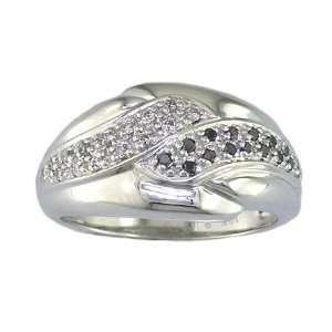18 CT Black and White Diamond Wedding Band 10K White Gold in Size 5