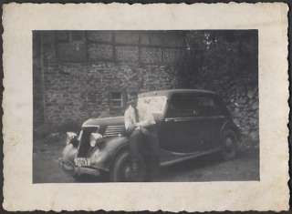 Old Photo Man w/ 1937 Renault Car Berlin Germany 640922