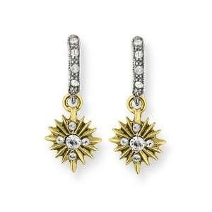 Gold tone & Silver tone Crystal Cross Drop Earrings Jewelry
