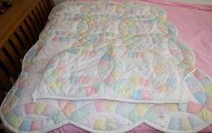 House of Hatten Baby Girls Crib Nursery Double Wedding Ring Quilt