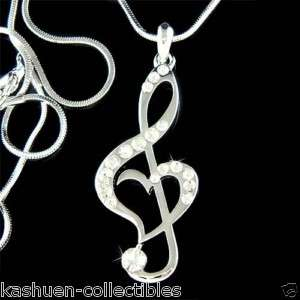 Crystal TREBLE G CLEF Love MUSIC MUSICAL NOTE Heart Pendant Necklace