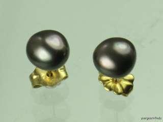 OWNED SOLID 14K YELLOW GOLD & GENUINE BLACK PEARL STUD EARRINGS