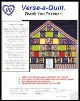 Thank You Teacher (c) Quilt pattern w/ poem label