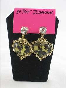 Betsey Johnson Leopard Heart Rhinestone Drop Earrings