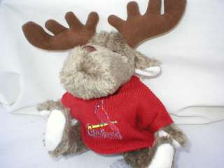 Description Cute 9 plush teddy bear moose. Hes wearing a team