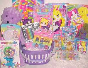 LISA FRANK EASTER TOY GIFT BASKET CRAFT TOYS ART BOOKS birthday easter