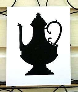 Paper Cut Silhouette of a Fancy Formal Teapot Wall Hang