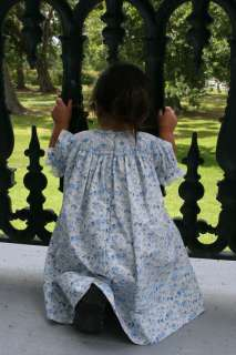 Handmade Smocked Bishop Dress blue/white print