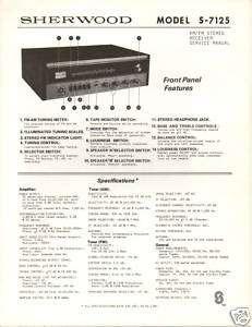 Original Service Manual Sherwood S 7125 Receiver