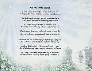 Cross in my Pocket Poem Personalized Print Prayer Name