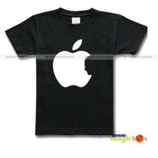 Steve Jobs Rest in Peace Apple Logo Tribute Memorial Black T shirt Tee