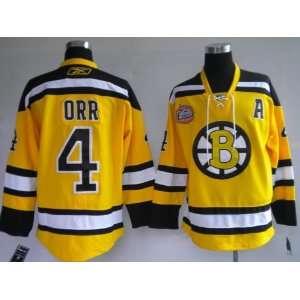 Bobby Orr #4 NHL Boston Bruins Yellow Hockey Jersey Sz56