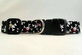 Crazy Pirate Skulls and Crossbones Black Dog Collar