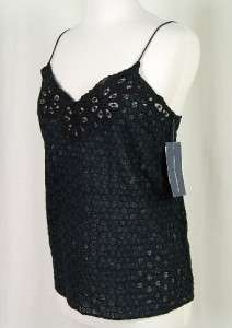 French Connection NWT $118 Eyelet Cami Tank Black   10