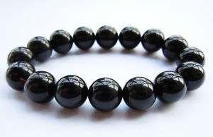 12mm Mens Natural Black Obsidian Crystal Beads Bracelet