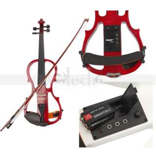 Electric Silent Violin Solid Wood Red White Black Blue Brown