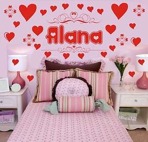 & Hearts Girls room Vinyl Wall Decal Sticker Art Decor 31 decal set