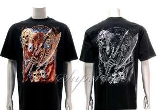 hr61 Hot Rock T shirt Sz XL Tattoo Dead Skull Graffiti Warrior Knight