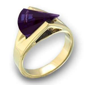 Womens Young Line Amethyst Cubic Zirconia Gold Tone Ring