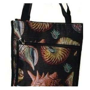 Sea Shell Tapestry Tote Handbag Purse with Coin Purse