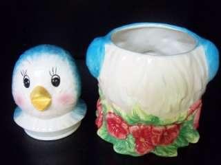 RETRO BLUEBIRD BLUE BIRD COOKIE JAR BISCUIT CANISTER