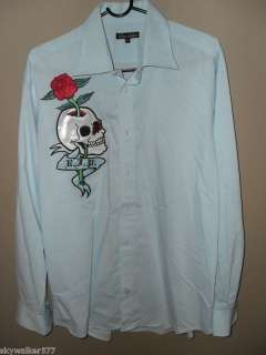 Edward Dada Skull Tattoo Couture Blue Dress Shirt XL